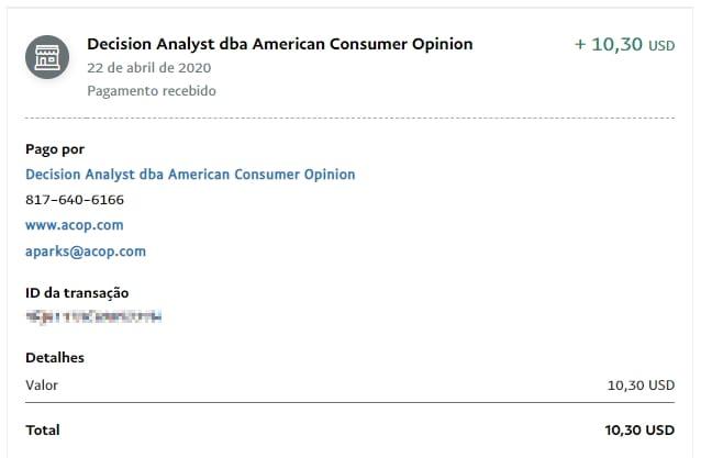 American Consumer Opinion - Pagamento