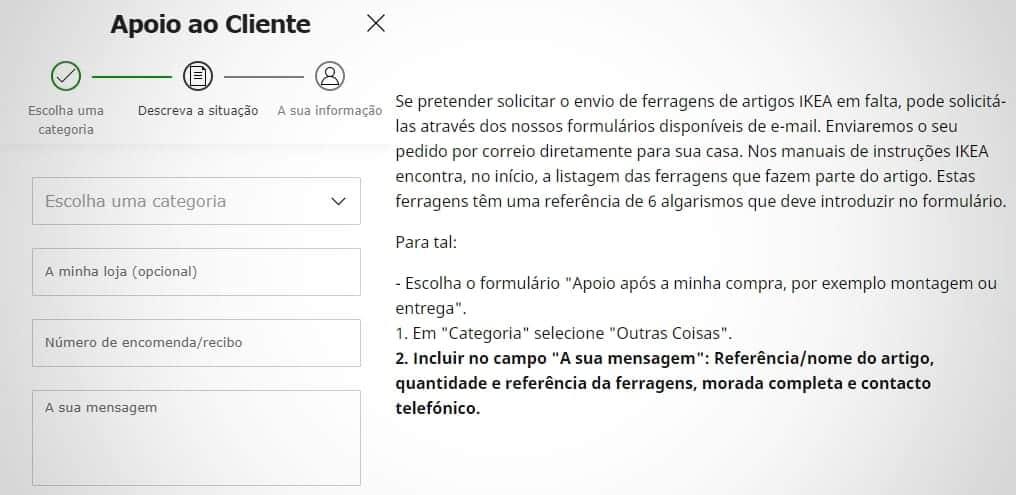 Formulário para solicitar ferragens do IKEA