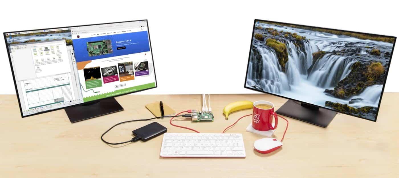 Raspberry Pi 4 com dois monitores