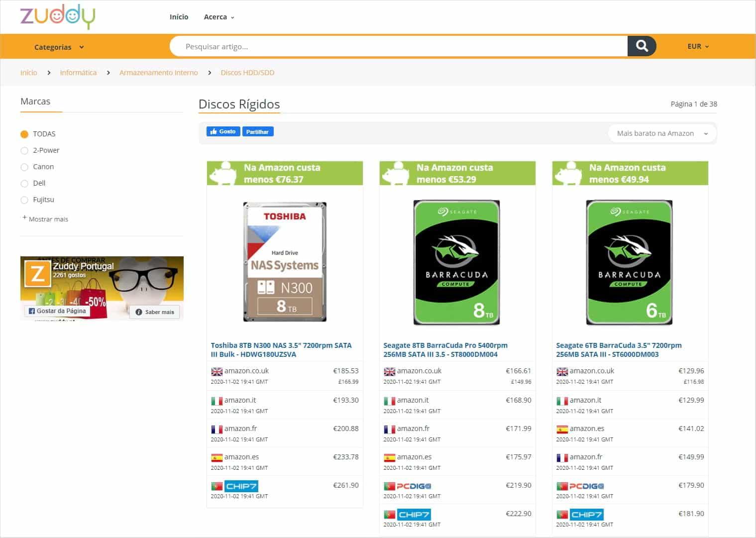 Zuddy - Comparação de preços de discos rígidos