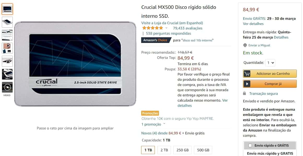 Disco SSD Crucial 1TB à venda na Amazon