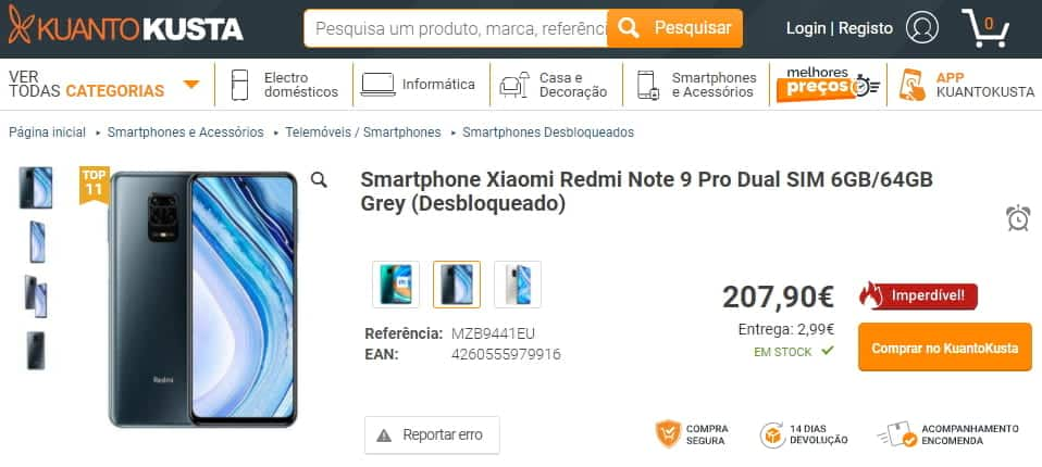KuantoKusta - Xiaomi Redmi Note 9 Pro