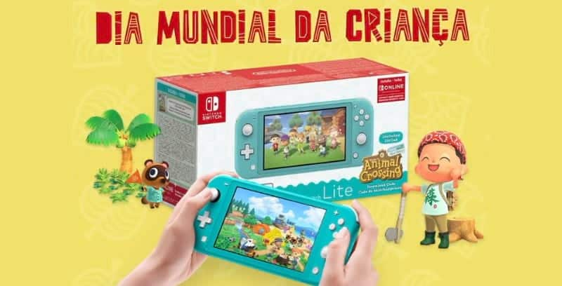 Nintendo Switch Lite Turquesa com o jogo Animal Crossing: New Horizons