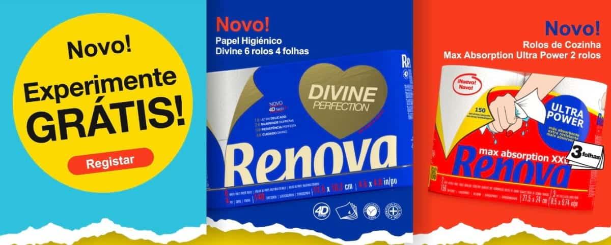 Papel Higiénico Renova Divine 6rls ou de Rolos de Cozinha Max Absorption Ultra Power 2rls
