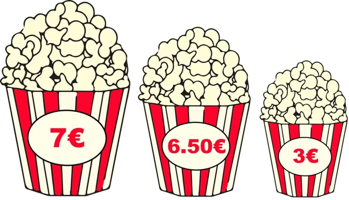 Exemplo do efeito chamariz aplicado à venda de pipocas no cinema