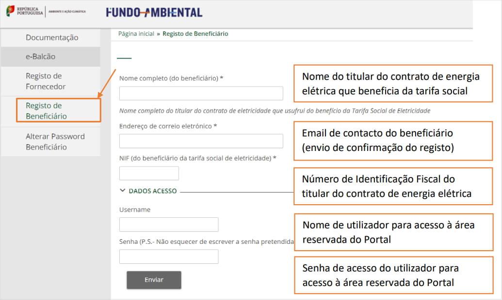 Formulário de registo de beneficiário do Vale Eficiência