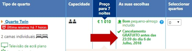 Booking - Cancelamento Gratuito