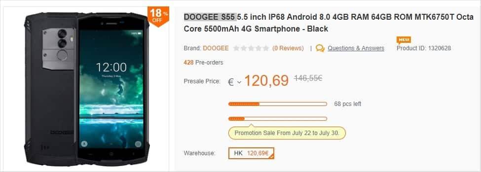 Doogee S55 - Banggood