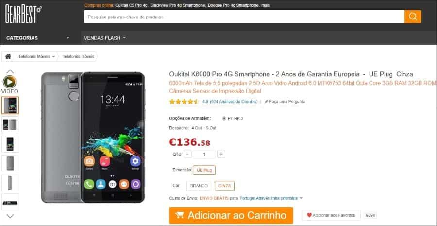 GearBest - Oukitel K6000 Pro - Cinza