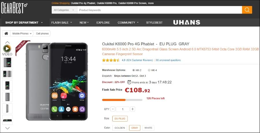 GearBest Global - Oukitel K6000 Pro