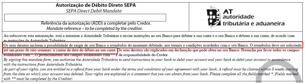 Autorização de Débito Direto SEPA - AT
