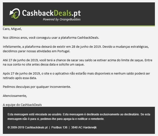 Cashbackdeals - Encerramento