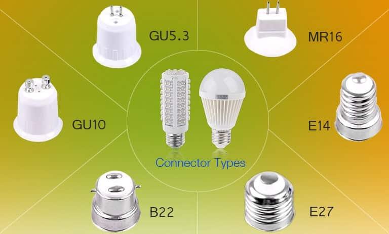 Tipos de casquilho de lâmpadas LED
