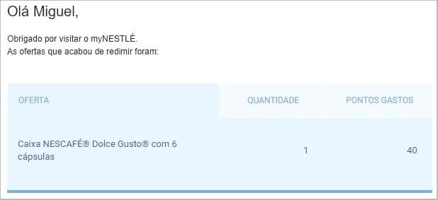 Confirmação de pedido myNestlé