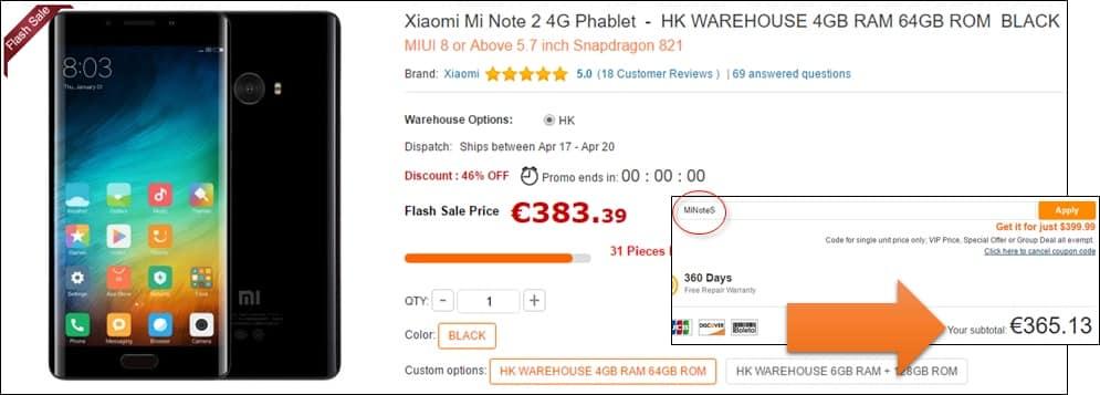 Desconto para o Xiaomi Mi Note 2
