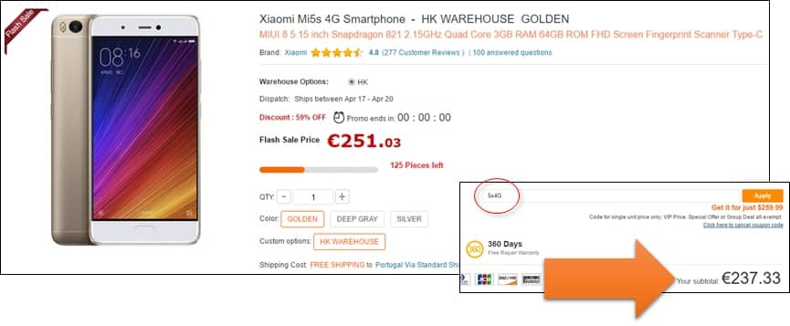 Desconto para o Xiaomi Mi5s