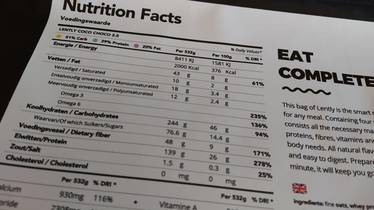 Lently - Tabela nutricional