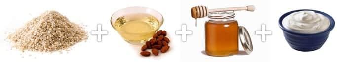Ingredientes para criar uma loção caseira para limpeza de rosto