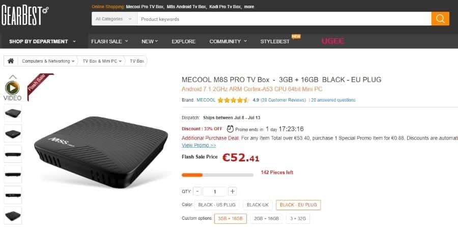 Preço da TV Box MECOOL M8S PRO