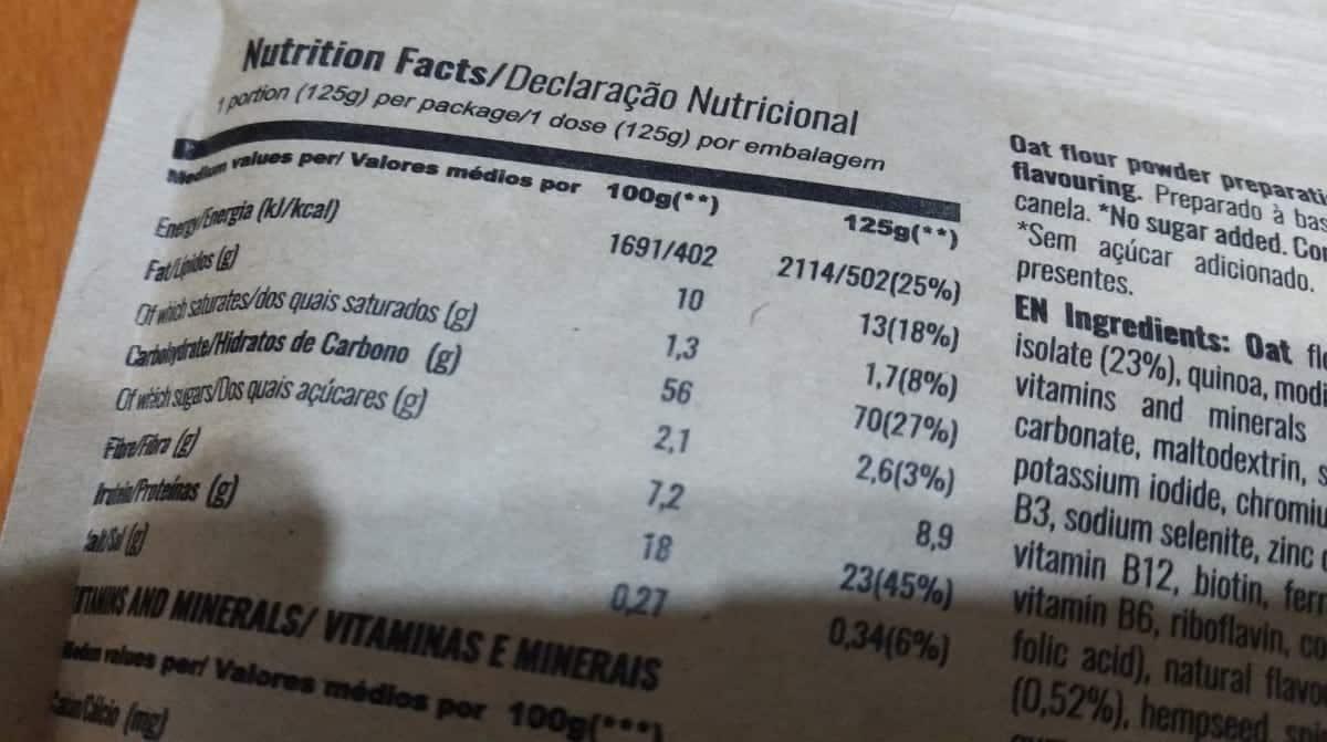 Mondays - Tabela Nutricional da Nova Formula