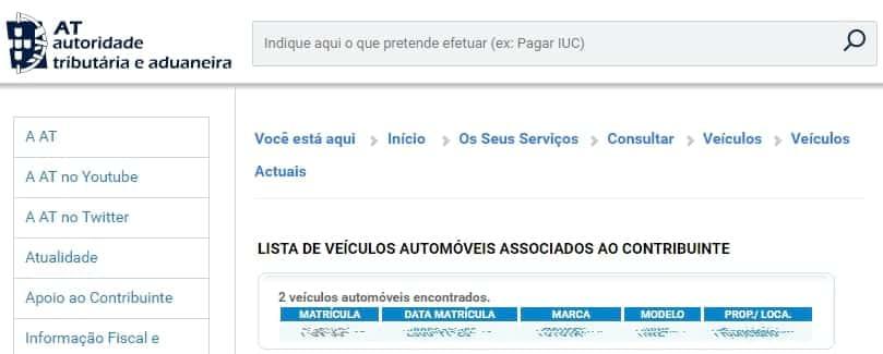 Portal das Financas - Automóveis