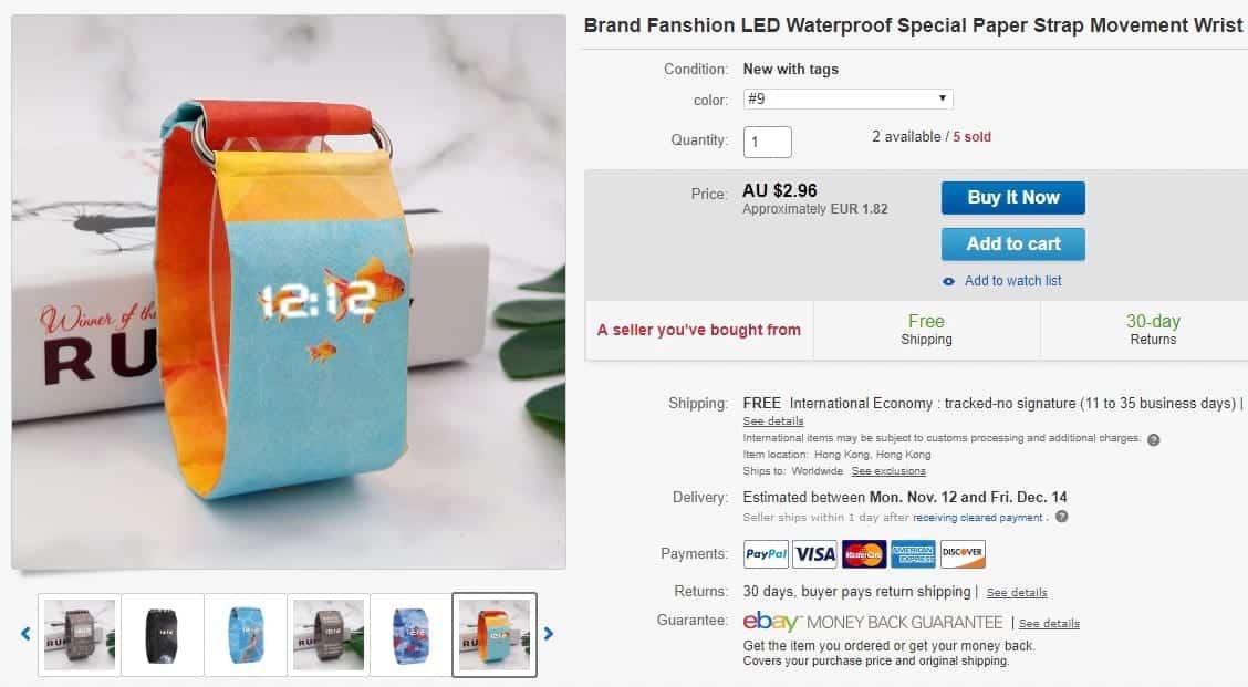 Relógio de Papel no Ebay