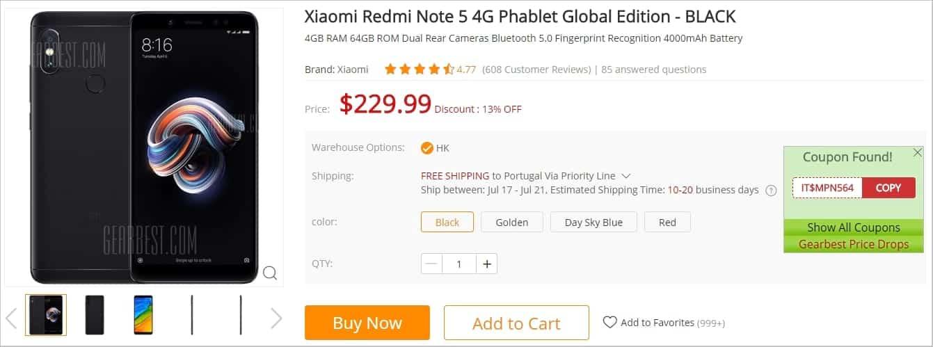 Xiaomi Redmi Note 5 - Cupão EZCoupon