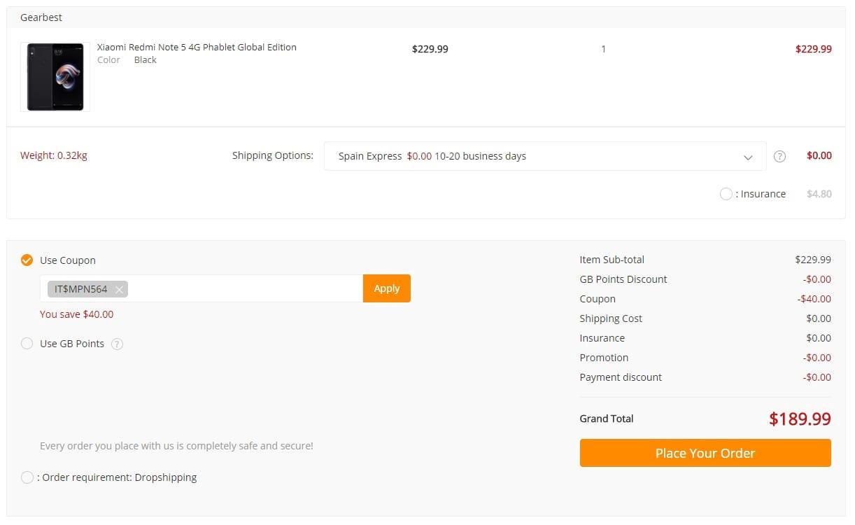 Xiaomi Redmi Note 5 - Cupão de Desconto